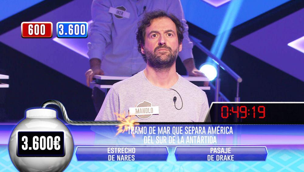 Manolo, 'on fire': casi resuelve él solo la bomba clasificatoria en '¡Boom!'