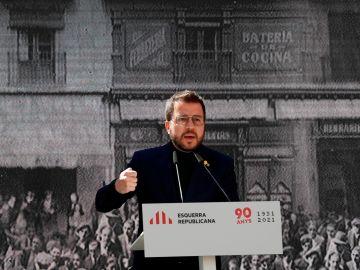 Pere Aragonès, en un acto de ERC