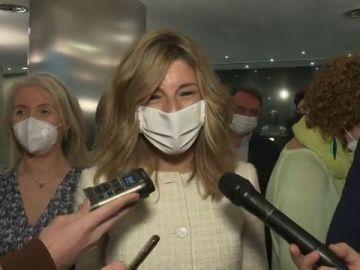 """Yolanda Díaz asegura estar """"volcada"""" en el Ministerio de Trabaja y que ser vicepresidenta """"es secundario"""""""