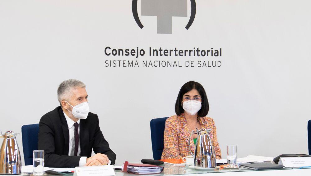 Carolina Darias y Fernando Grande Marlaska, en el Consejo Interterritorial de Salud