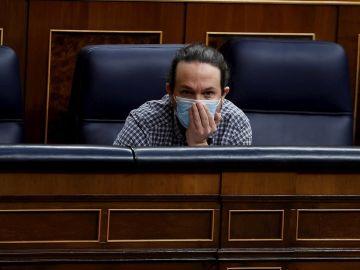 El vicepresidente segundo del Gobierno, Pablo Iglesias, asiste a su último pleno