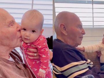 Bisabuelo conoce a su nieta