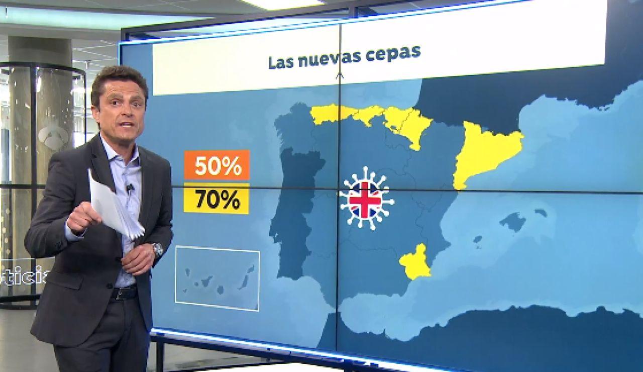 La variante británica del coronavirus ya está detrás del 50% de los casos en España y la sudafricana comienza a crecer