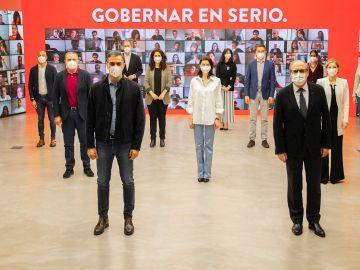 Pedro Sánchez y Ángel Gabilondo en un acto de la precamapaña de las elecciones de Madrid