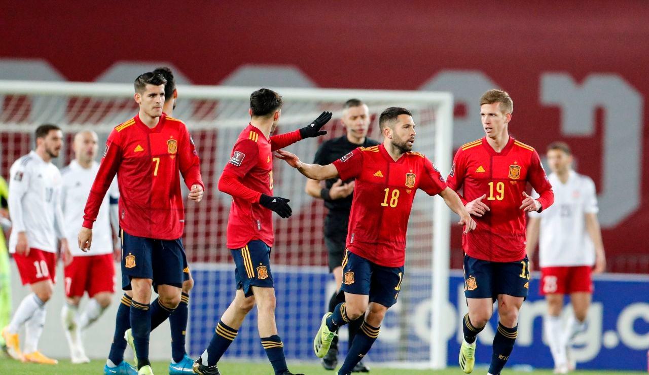 Los jugadores españoles celebran un gol ante Georgia