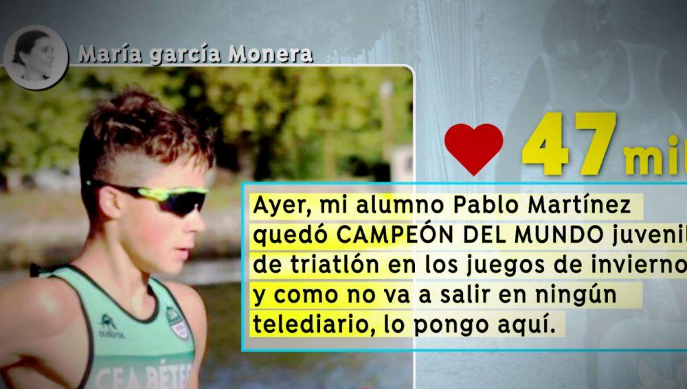 Pablo Martínez, campeón juvenil de Triatlón de invierno del mundo con tan solo 15 años