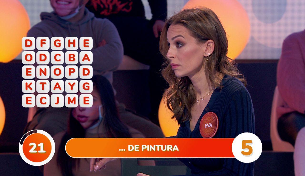 La reacción de Eva González ante la destreza de Pablo en la 'Sopa de Letras'