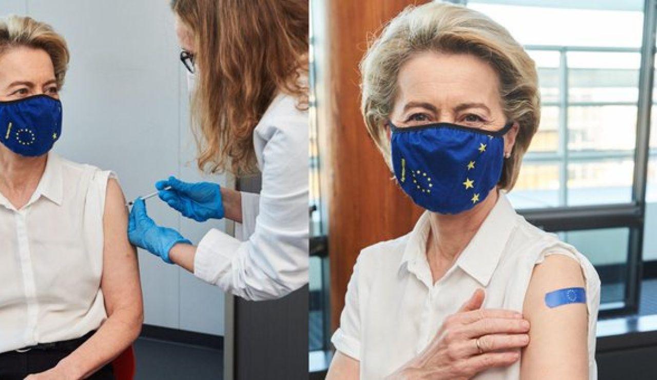 Von der Leyen recibe la vacuna contra el coronavirus sin especificar el fármaco inyectado
