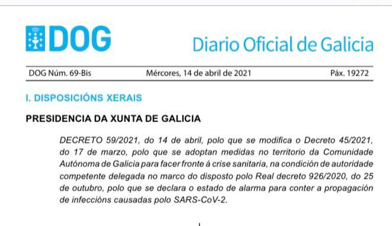 DOG de 14 de abril con las nuevas restricciones en Galicia en PDF