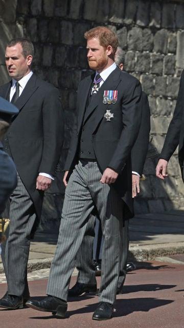 El príncipe Harry y Guillermo en el funeral del Duque de Edimburgo