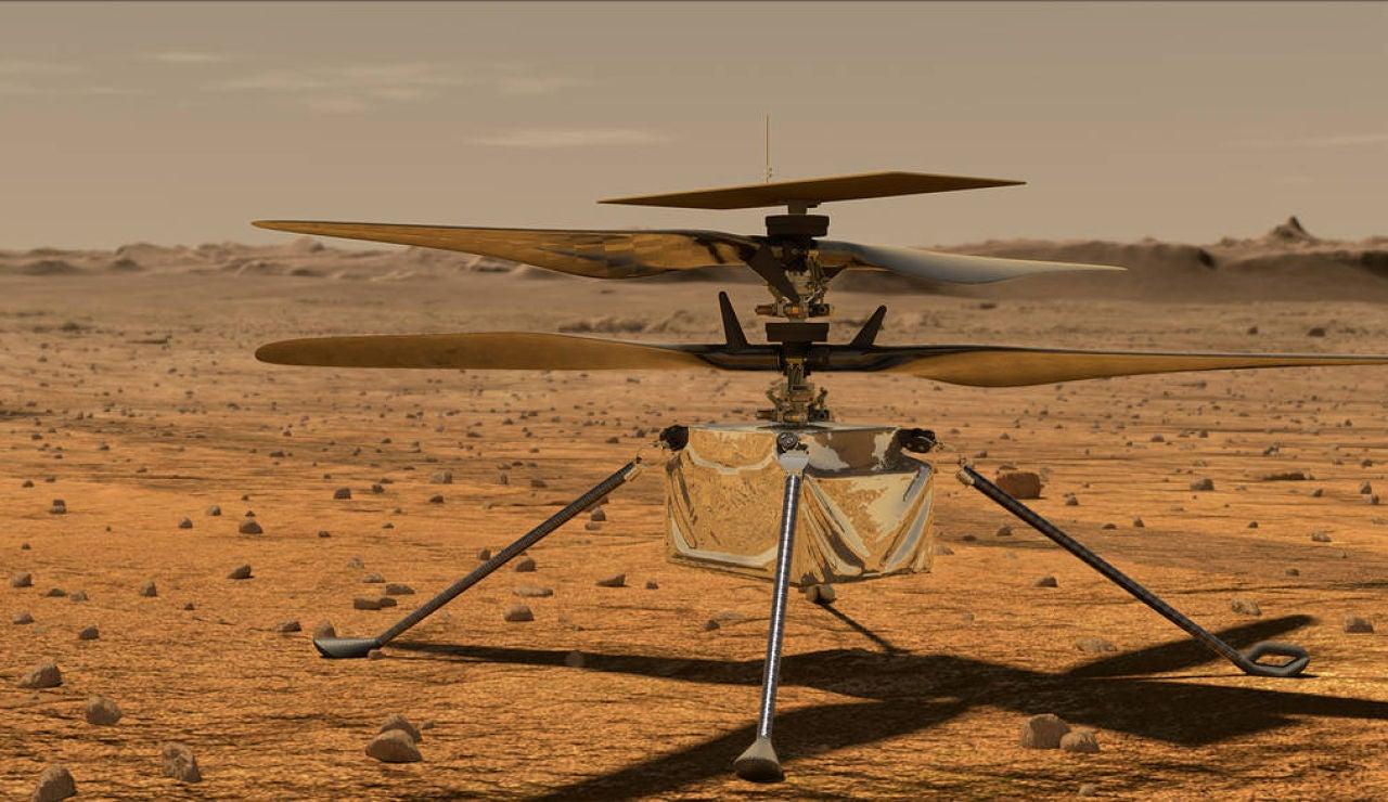 El helicóptero Ingenuity sobre la superficie de Marte