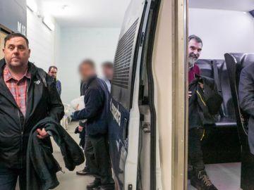 Orion Junqueras a punto de entrar en furgón policial junto a Jordi Sànchez y Jordi Cuixart