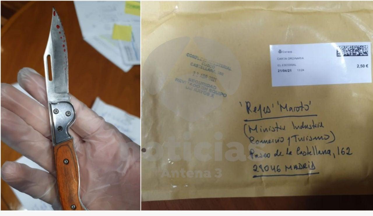 El sobre y la navaja que ha recibido Reyes Maroto
