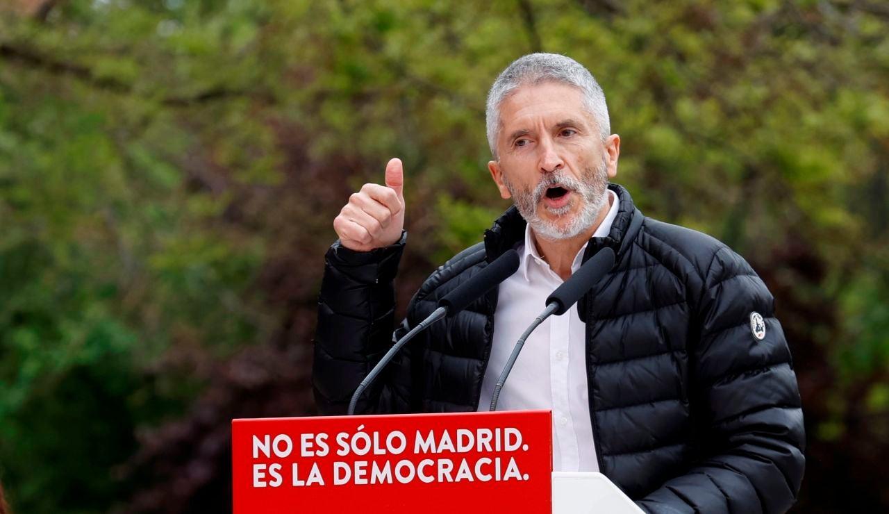 Fernando Grande-Marlaska, durante un mitin del PSOE