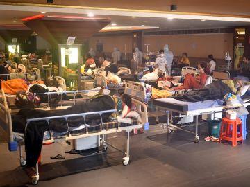 Pacientes ingresados por coronavirus en nueva Delhi
