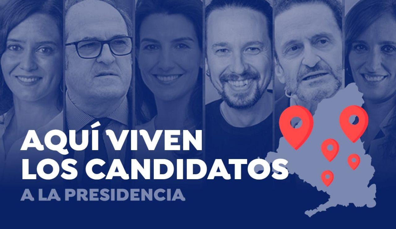 Aquí viven los candidatos a la presidencia de la Comunidad de Madrid y esto es lo que les cuesta