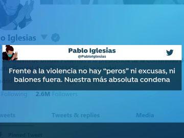 Mensaje de condena de Iglesias ante las amenazas dirigidas a Ayuso