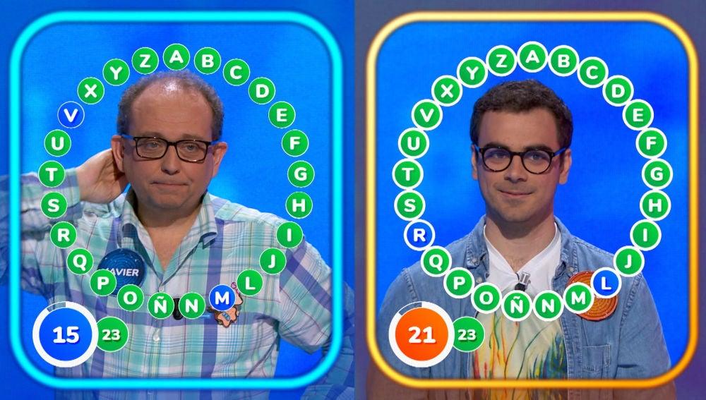 Los recuentos definen la estrategia de Javier y Pablo con un empate a 23 en 'El Rosco'