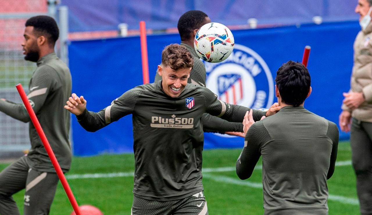 Marcos Llorente, en un entrenamiento del Atlético de Madrid