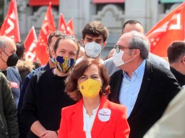 La ministra Carmen Calvo en la manifestación en Madrid por el Día del Trabajo