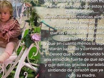 Mensaje a la madre de las niñas desaparecidas en Tenerife.