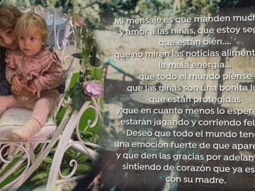 El mensaje de esperanza de la madre de las niñas.
