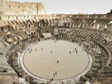 """Vista del proyecto aprobado por Italia para devolver al Coliseo de Roma su """"arena"""", la platea en la que hace dos milenios tenían lugar la lucha de gladiadores"""