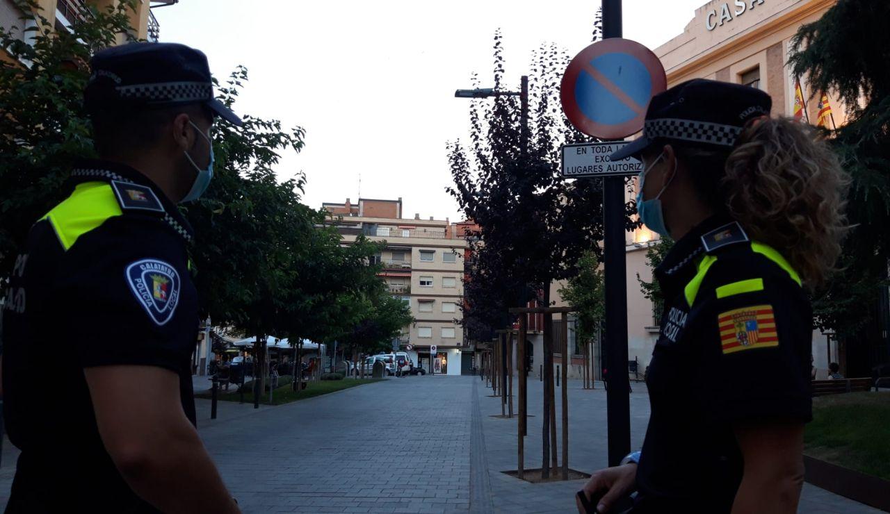 Control de la policía local en Calatayud