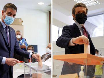 Pedro Sánchez y Pablo Casado votan en las elecciones de Madrid
