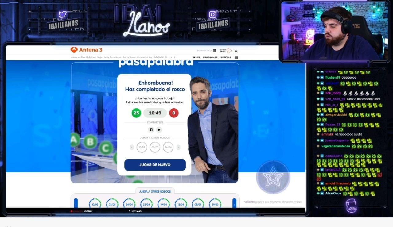 Ibai Llanos completa el Rosco virtual de 'Pasapalabra'