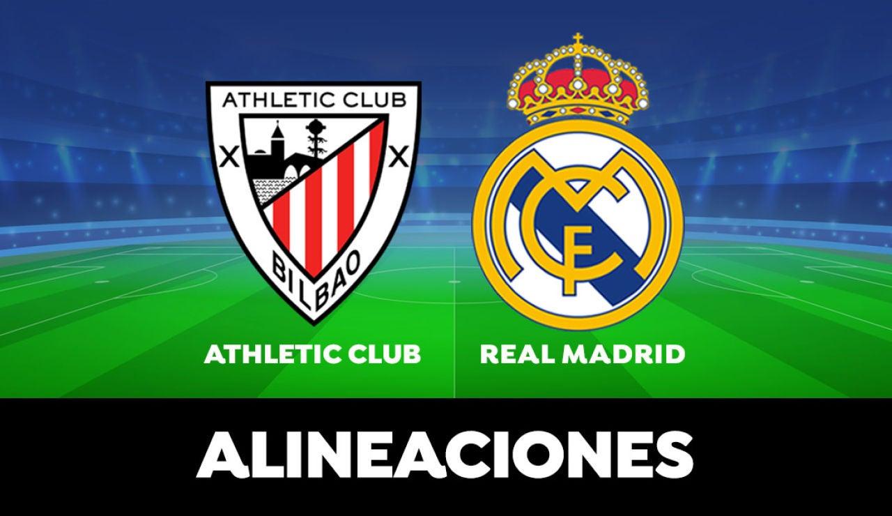 Alineación oficial del Real Madrid contra el Athletic Club en el partido de la Liga Santander