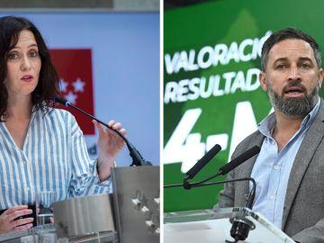La presidenta de la CAM, Isabel Díaz Ayuso, y el líder de Vox, Santi Abascal