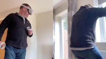 Padre probando unas gafas de realidad virtual
