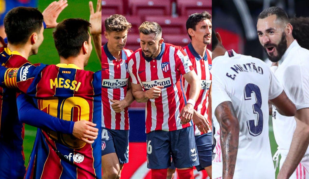 Las cuentas del Atlético para proclamarse campeón de la Liga le domingo y de Real Madrid y Barcelona para evitarlo