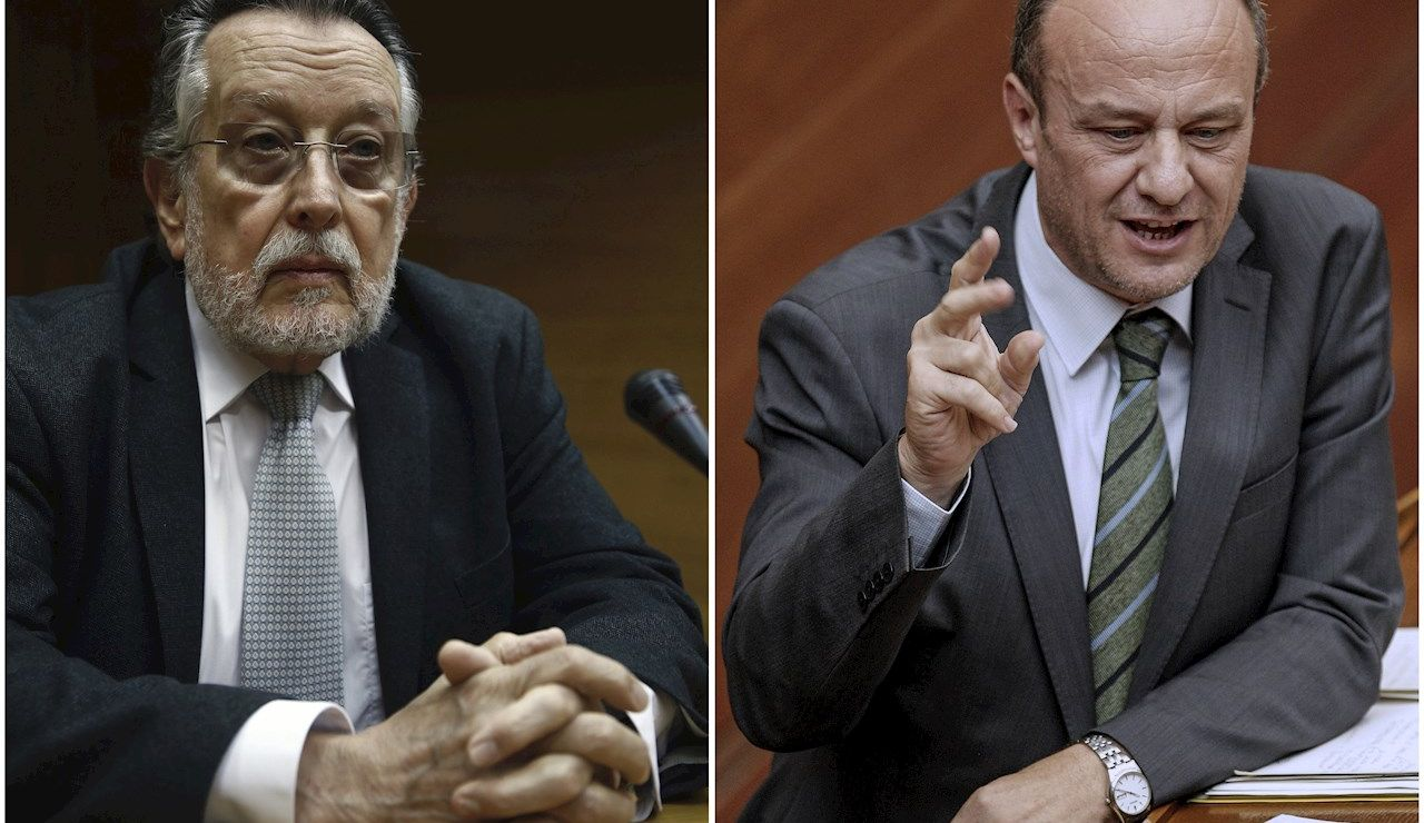 ombo con fotos del exvicealcalde de Valencia, Alfonso Grau (i), y del exsubdelegado del Gobierno en Valencia, Rafael Rubio