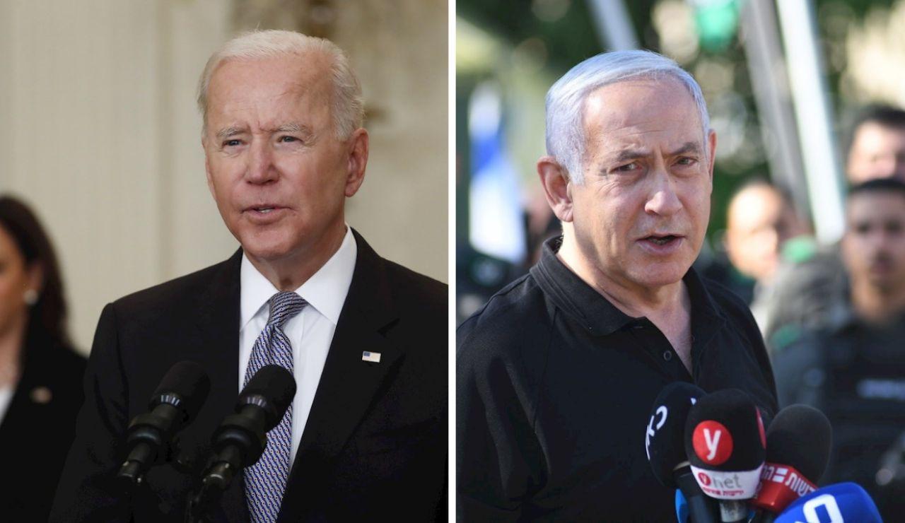 El presidente de EEUU, Joe Biden, y el primer ministro israelí, Benjamin Netanyahu