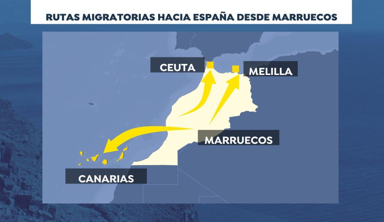 Las rutas migratorias tradicionales desde Marruecos a España
