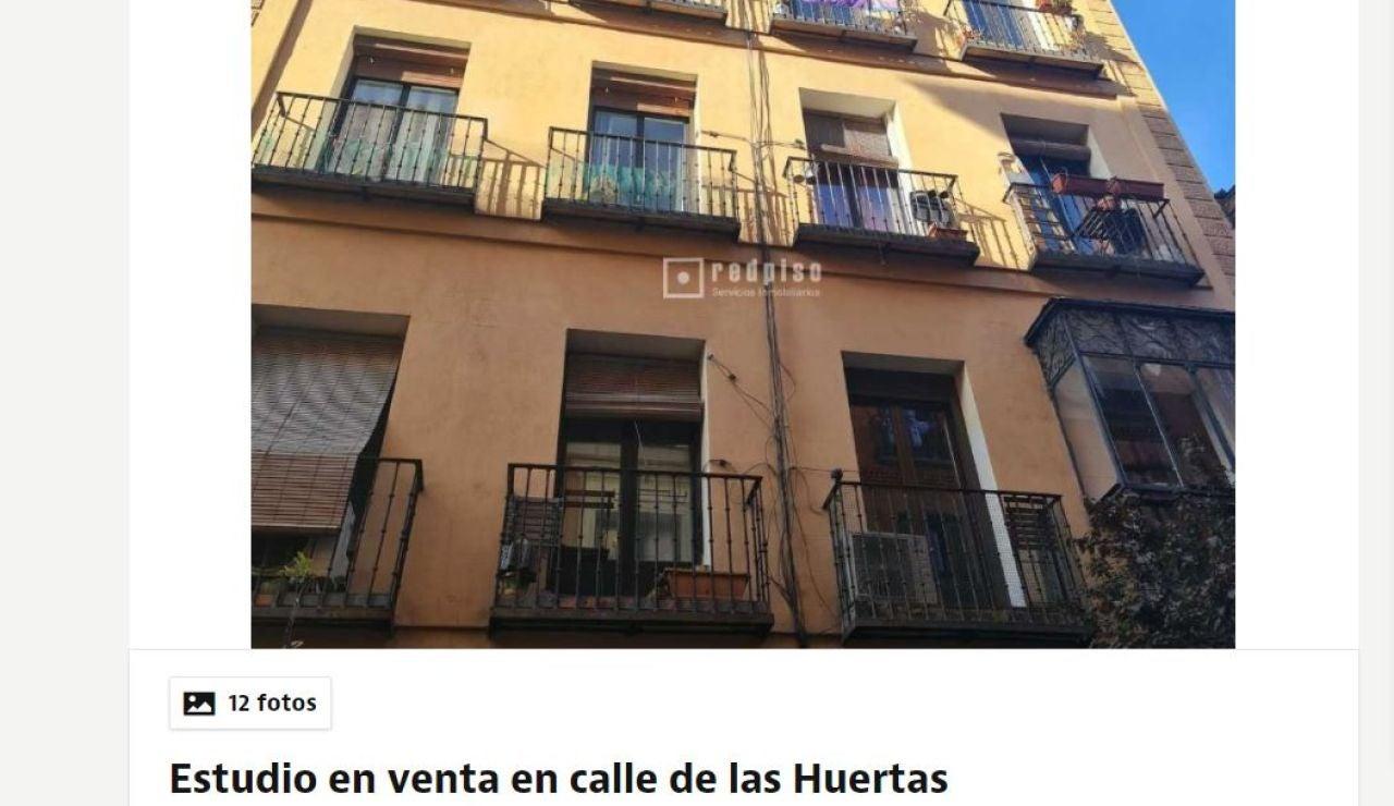 Anuncio de una buhardilla en Idealista de 5 metros cuadrados por 65.000 euros en Madrid