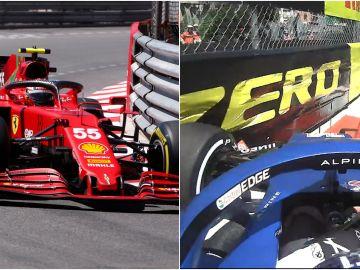 Carlos Sainz brilla en los primeros Libres en Mónaco y Fernando Alonso sufre un percance contra un muro