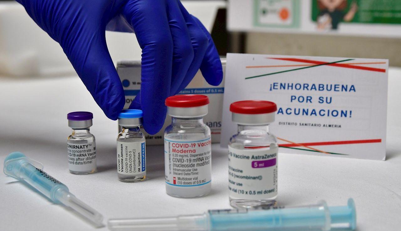 Imagen de las cuatro vacunas disponibles en un punto de vacunación.