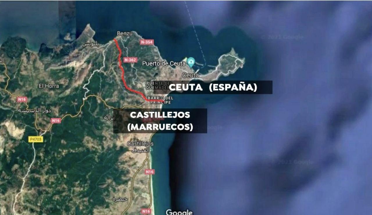 Gráfico ubicando a la ciudad marroquí de Castillejos