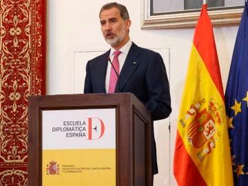 El rey Felipe durante su intervención en la entrega de los Despachos de secretario de Embajada a la LXXII promoción de la Carrera Diplomática