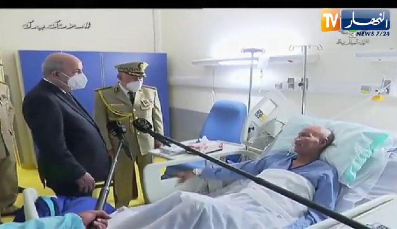 El presidente de Argelia, Abdelmayid Tebune, visita a Brahim Gali a su llegada a Argel procedente de España