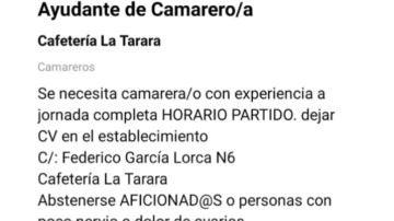 Oferta de trabajo de un restaurante de Burgos