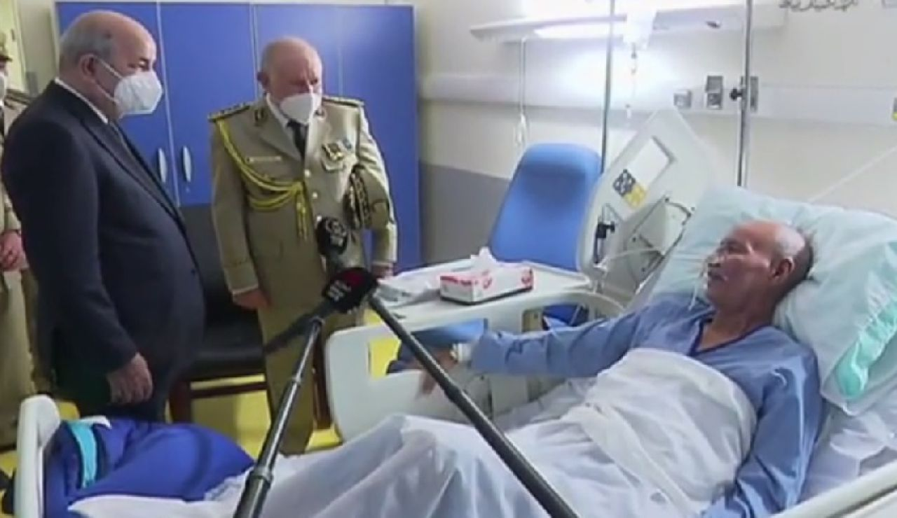 El presidente de Argelia visita en el hospital a Brahim Gali a su llegada a Argel procedente de España
