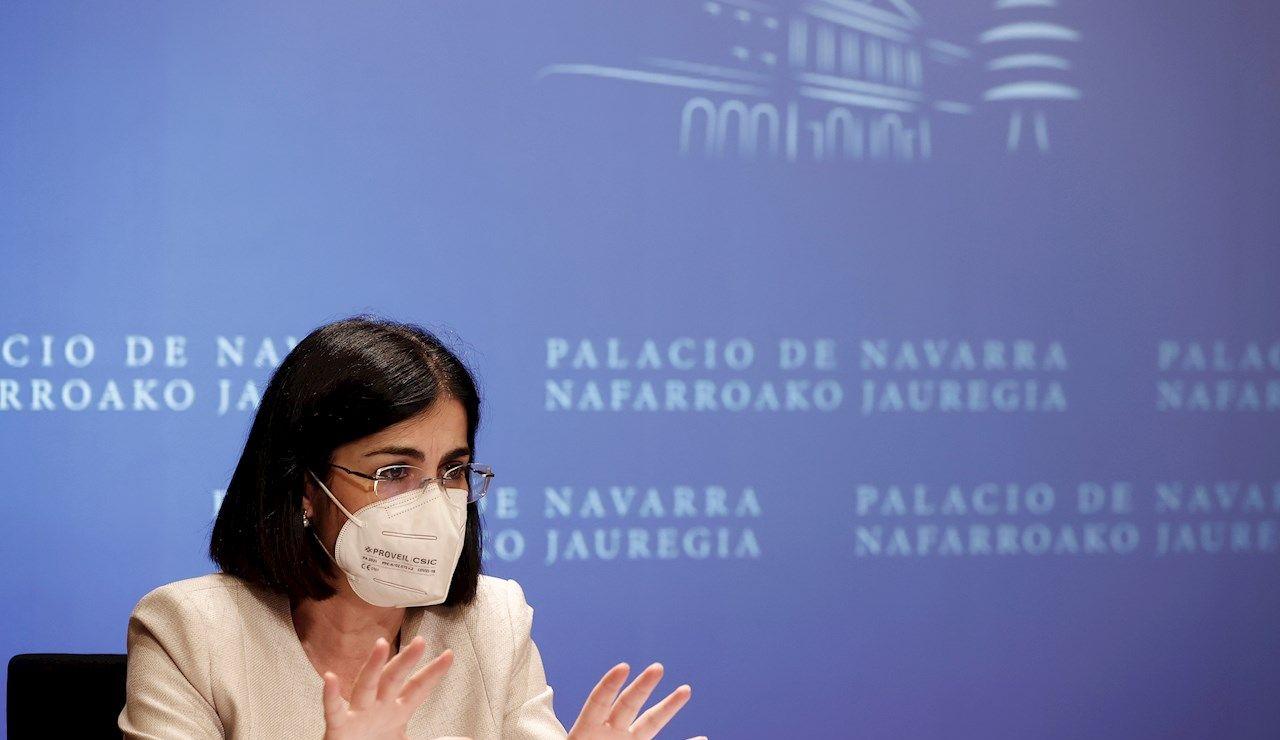 La ministra de Sanidad, Carolina Darias, tras la reunión del Consejo Interterritorial de Salud de este miércoles en Pamplona