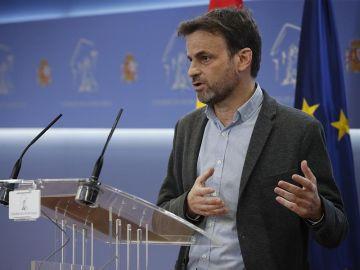 Jaume Asens, durante la rueda de prensa ofrecida este martes en el Congreso de los Diputados.