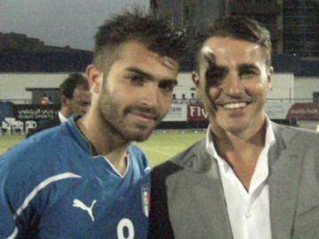 Giuseppe Perrino junto a Fabio Cannavaro