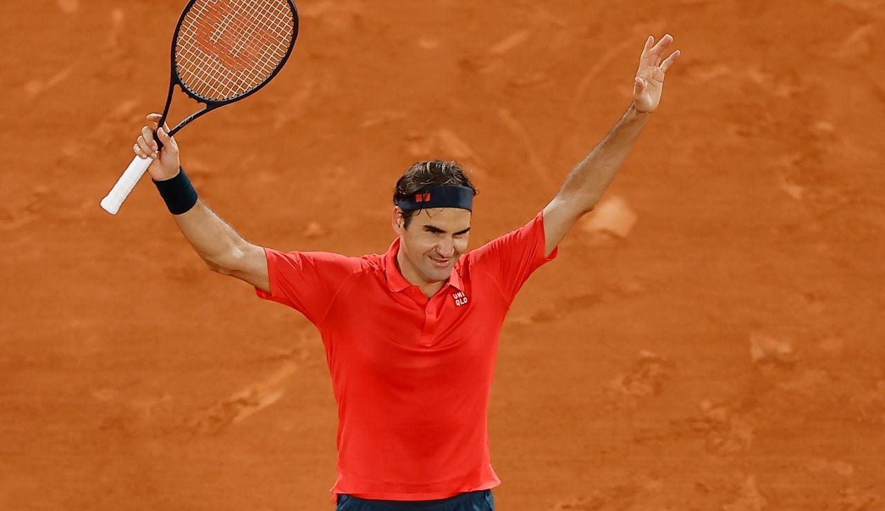 Roger Federer, tras ganar su último partido en Roland Garros