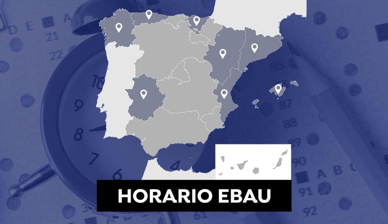 Horario de la Evau en Cataluña, Comunidad Valenciana, Aragón, Extremadura, Galicia, Asturias, País Vasco y Baleares